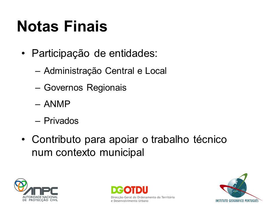 Notas Finais Participação de entidades: –Administração Central e Local –Governos Regionais –ANMP –Privados Contributo para apoiar o trabalho técnico n