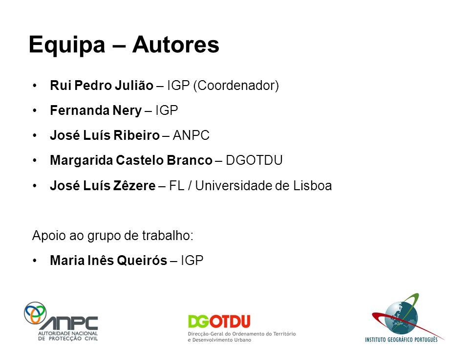 Equipa – Autores Rui Pedro Julião – IGP (Coordenador) Fernanda Nery – IGP José Luís Ribeiro – ANPC Margarida Castelo Branco – DGOTDU José Luís Zêzere