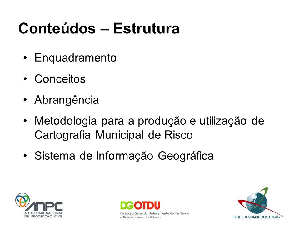 Conteúdos – Estrutura Enquadramento Conceitos Abrangência Metodologia para a produção e utilização de Cartografia Municipal de Risco Sistema de Inform
