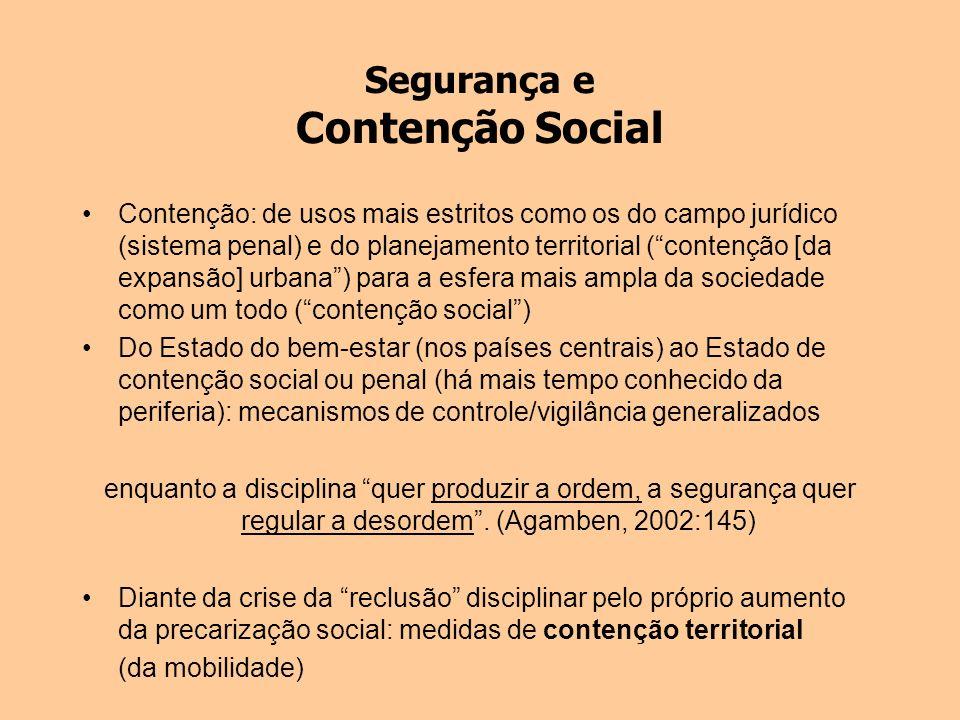Segurança e Contenção Social Contenção: de usos mais estritos como os do campo jurídico (sistema penal) e do planejamento territorial (contenção [da e