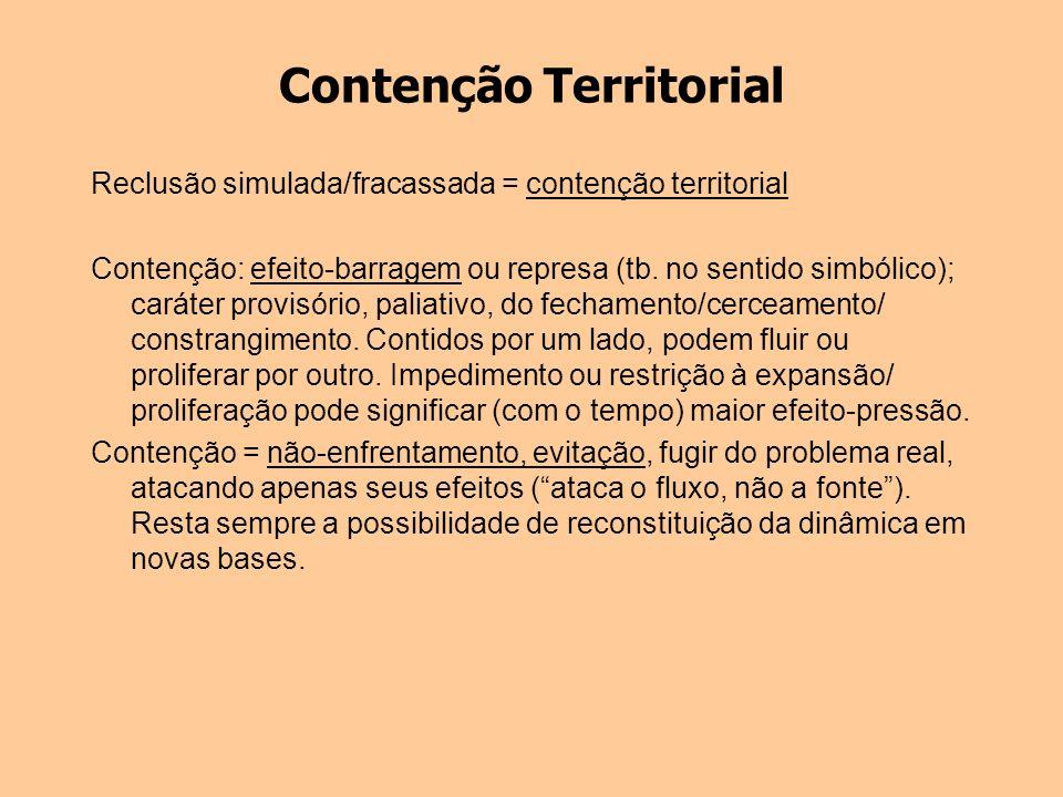Contenção Territorial Reclusão simulada/fracassada = contenção territorial Contenção: efeito-barragem ou represa (tb. no sentido simbólico); caráter p