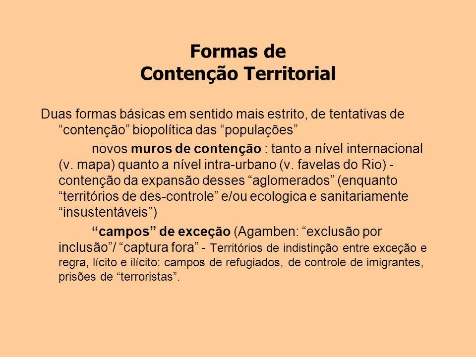 Formas de Contenção Territorial Duas formas básicas em sentido mais estrito, de tentativas de contenção biopolítica das populações novos muros de cont