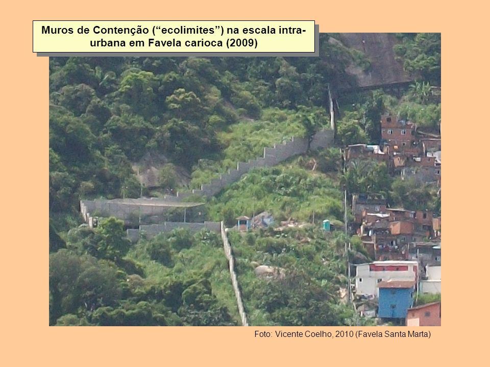 Muros de Contenção (ecolimites) na escala intra- urbana em Favela carioca (2009) Foto: Vicente Coelho, 2010 (Favela Santa Marta)