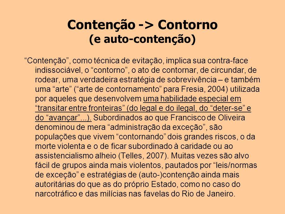 Contenção -> Contorno (e auto-contenção) Contenção, como técnica de evitação, implica sua contra-face indissociável, o contorno, o ato de contornar, d