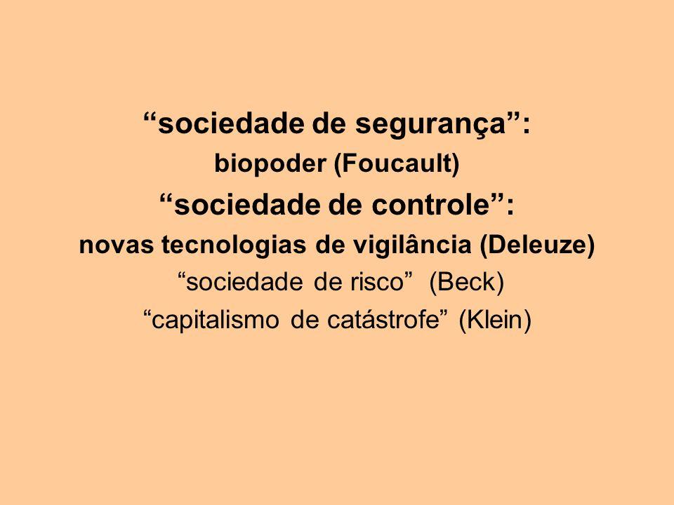 sociedade de segurança: biopoder (Foucault) sociedade de controle: novas tecnologias de vigilância (Deleuze) sociedade de risco (Beck) capitalismo de