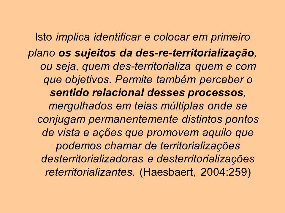 Isto implica identificar e colocar em primeiro plano os sujeitos da des-re-territorialização, ou seja, quem des-territorializa quem e com que objetivo
