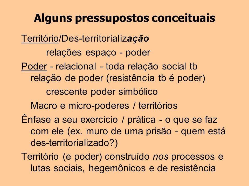 Alguns pressupostos conceituais Território/Des-territorialização relações espaço - poder Poder - relacional - toda relação social tb relação de poder