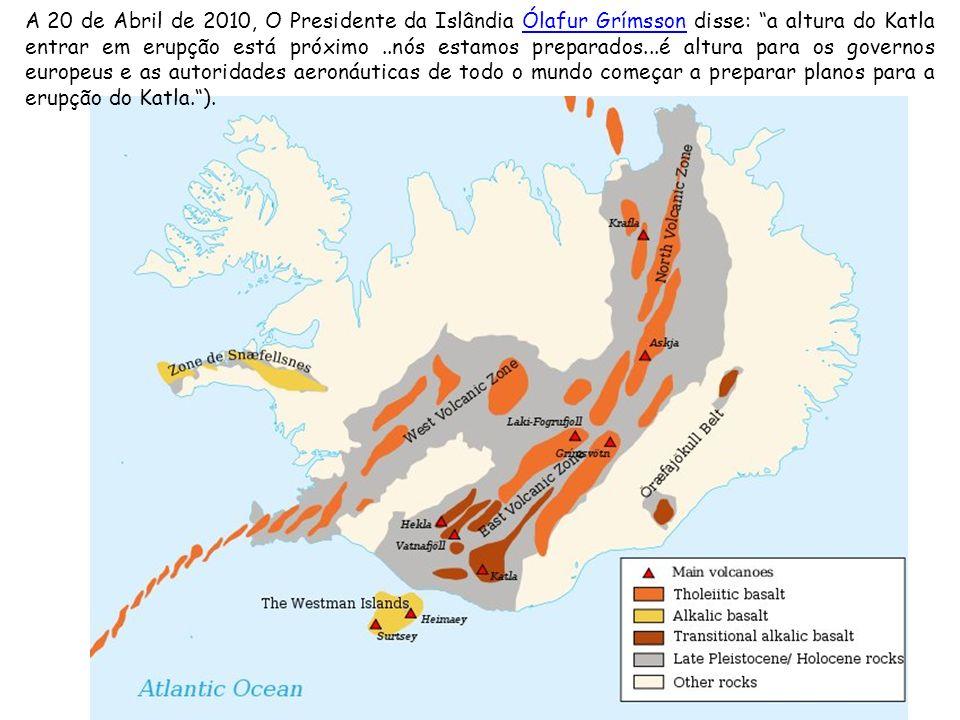 A 20 de Abril de 2010, O Presidente da Islândia Ólafur Grímsson disse: a altura do Katla entrar em erupção está próximo..nós estamos preparados...é altura para os governos europeus e as autoridades aeronáuticas de todo o mundo começar a preparar planos para a erupção do Katla.).Ólafur Grímsson