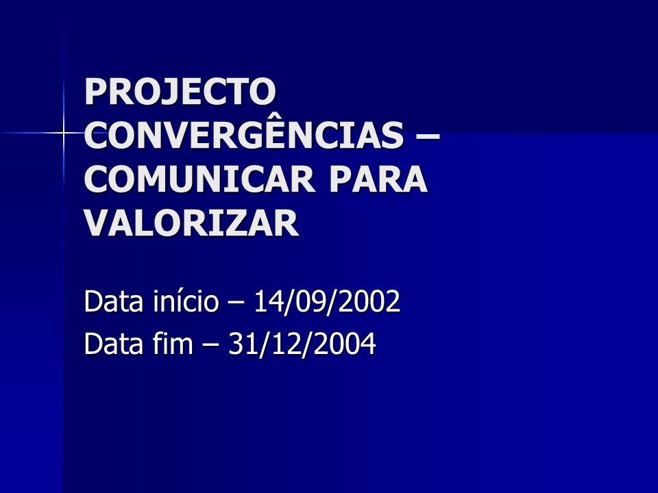 PROJECTO CONVERGÊNCIAS – COMUNICAR PARA VALORIZAR Data início – 14/09/2002 Data fim – 31/12/2004