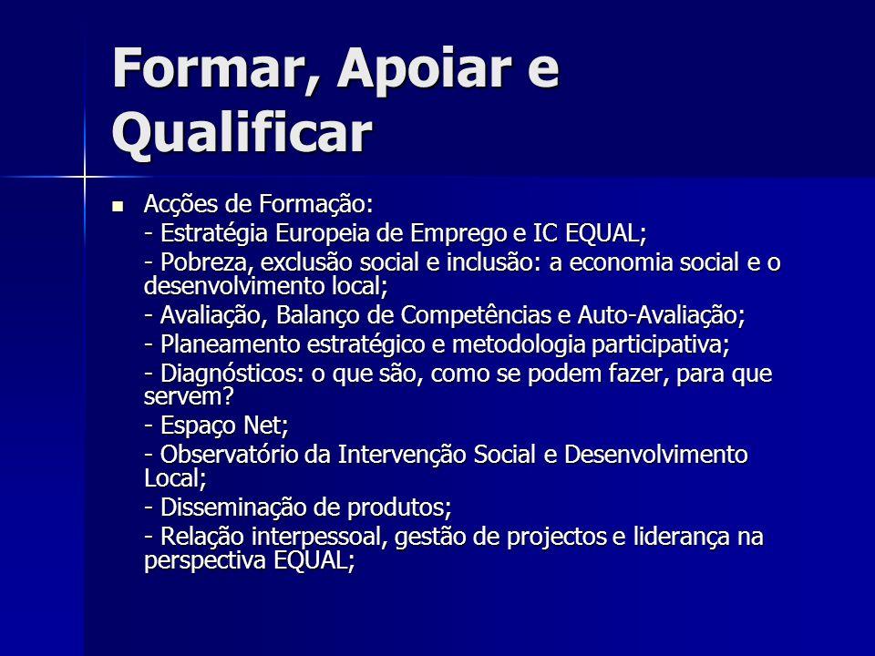 Formar, Apoiar e Qualificar Acções de Formação: Acções de Formação: - Estratégia Europeia de Emprego e IC EQUAL; - Pobreza, exclusão social e inclusão: a economia social e o desenvolvimento local; - Avaliação, Balanço de Competências e Auto-Avaliação; - Planeamento estratégico e metodologia participativa; - Diagnósticos: o que são, como se podem fazer, para que servem.