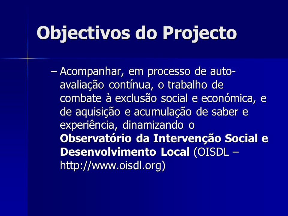 Objectivos do Projecto –Acompanhar, em processo de auto- avaliação contínua, o trabalho de combate à exclusão social e económica, e de aquisição e acumulação de saber e experiência, dinamizando o Observatório da Intervenção Social e Desenvolvimento Local (OISDL – http://www.oisdl.org)