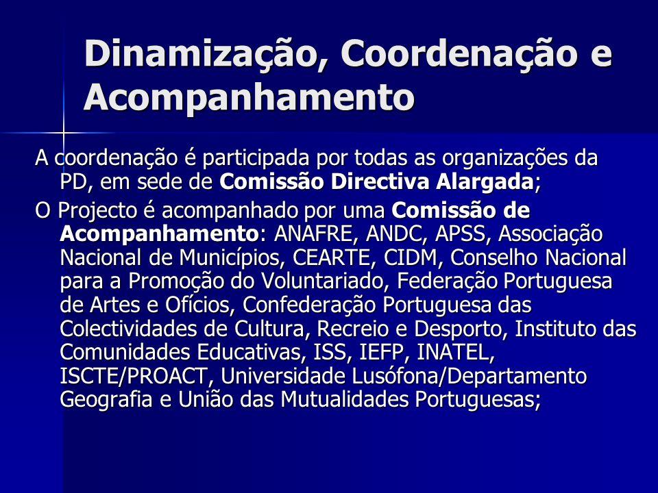 Dinamização, Coordenação e Acompanhamento A coordenação é participada por todas as organizações da PD, em sede de Comissão Directiva Alargada; O Projecto é acompanhado por uma Comissão de Acompanhamento: ANAFRE, ANDC, APSS, Associação Nacional de Municípios, CEARTE, CIDM, Conselho Nacional para a Promoção do Voluntariado, Federação Portuguesa de Artes e Ofícios, Confederação Portuguesa das Colectividades de Cultura, Recreio e Desporto, Instituto das Comunidades Educativas, ISS, IEFP, INATEL, ISCTE/PROACT, Universidade Lusófona/Departamento Geografia e União das Mutualidades Portuguesas;