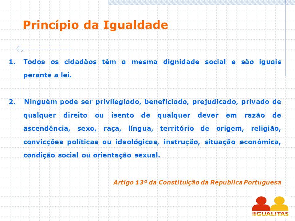 Princípio da Igualdade 1.Todos os cidadãos têm a mesma dignidade social e são iguais perante a lei. 2. Ninguém pode ser privilegiado, beneficiado, pre