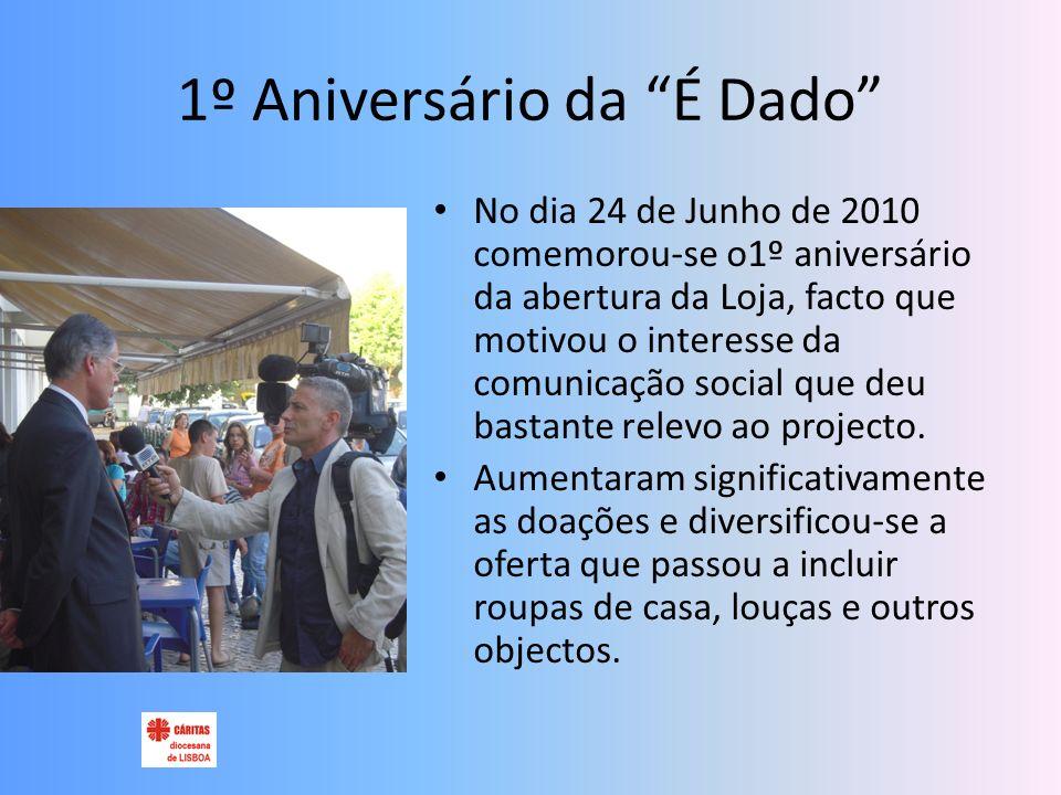 1º Aniversário da É Dado No dia 24 de Junho de 2010 comemorou-se o1º aniversário da abertura da Loja, facto que motivou o interesse da comunicação social que deu bastante relevo ao projecto.