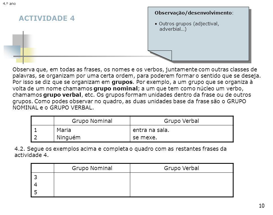 10 ACTIVIDADE 4 Observa que, em todas as frases, os nomes e os verbos, juntamente com outras classes de palavras, se organizam por uma certa ordem, para poderem formar o sentido que se deseja.