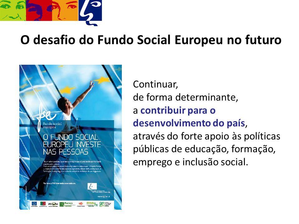 O desafio do Fundo Social Europeu no futuro Continuar, de forma determinante, a contribuir para o desenvolvimento do país, através do forte apoio às p