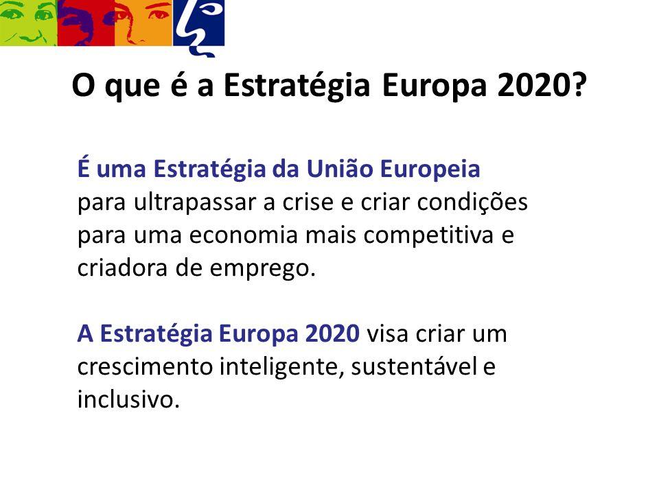 O que é a Estratégia Europa 2020? É uma Estratégia da União Europeia para ultrapassar a crise e criar condições para uma economia mais competitiva e c