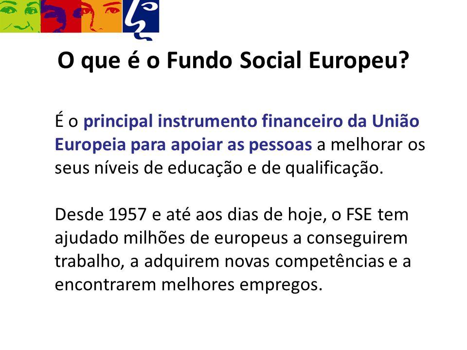 É o principal instrumento financeiro da União Europeia para apoiar as pessoas a melhorar os seus níveis de educação e de qualificação. Desde 1957 e at