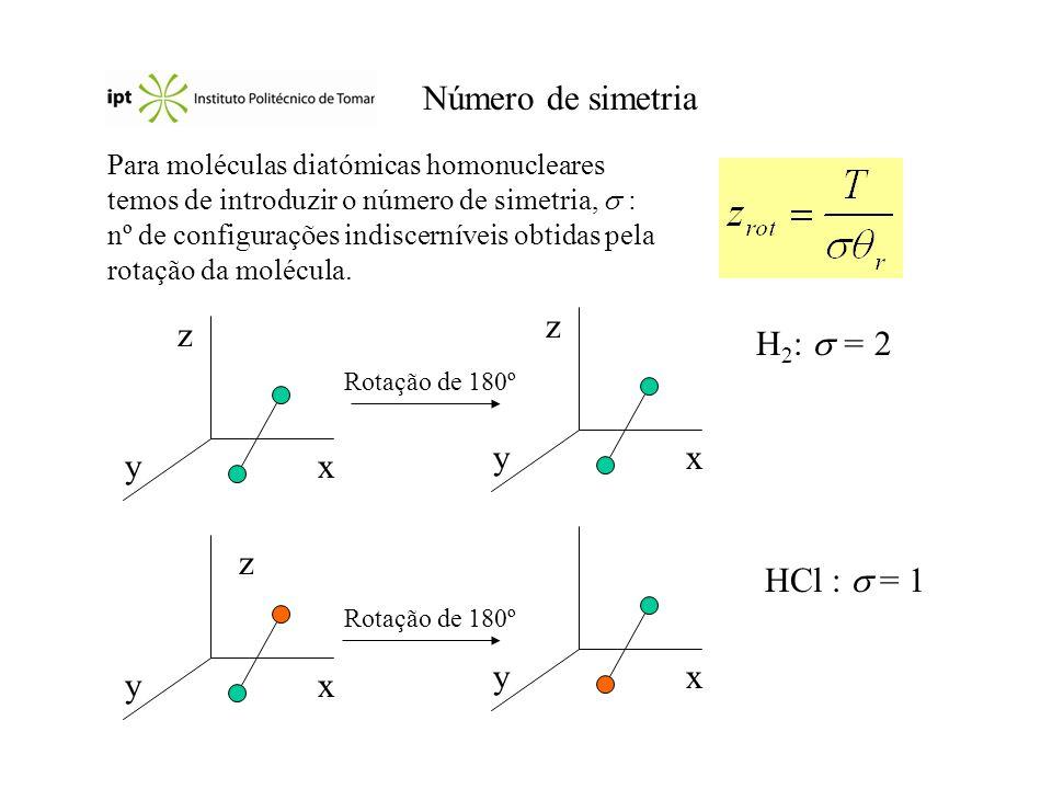 Número de simetria Para moléculas diatómicas homonucleares temos de introduzir o número de simetria, : nº de configurações indiscerníveis obtidas pela