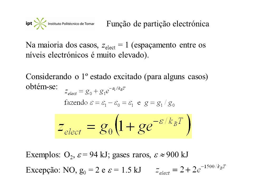 Função de partição electrónica Na maioria dos casos, z elect = 1 (espaçamento entre os níveis electrónicos é muito elevado). Considerando o 1º estado