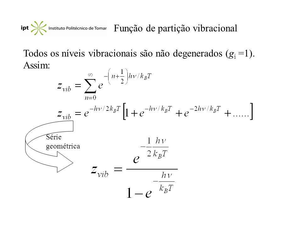 Função de partição vibracional Todos os níveis vibracionais são não degenerados (g i =1). Assim: Série geométrica
