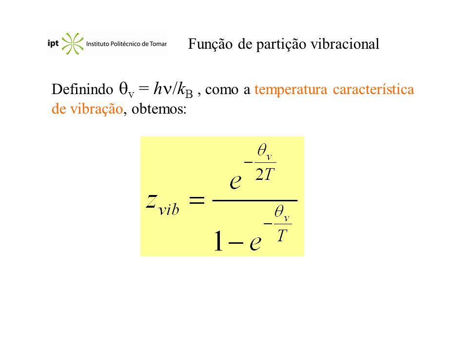 Função de partição vibracional Definindo v = h /k B, como a temperatura característica de vibração, obtemos: