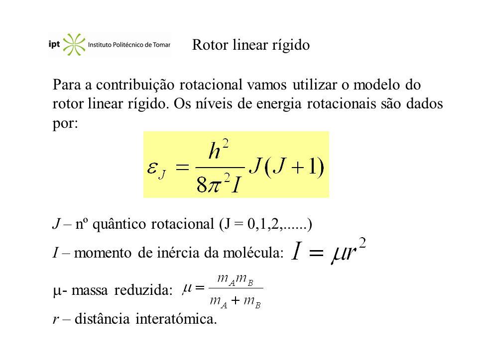 Rotor linear rígido Para a contribuição rotacional vamos utilizar o modelo do rotor linear rígido. Os níveis de energia rotacionais são dados por: J –