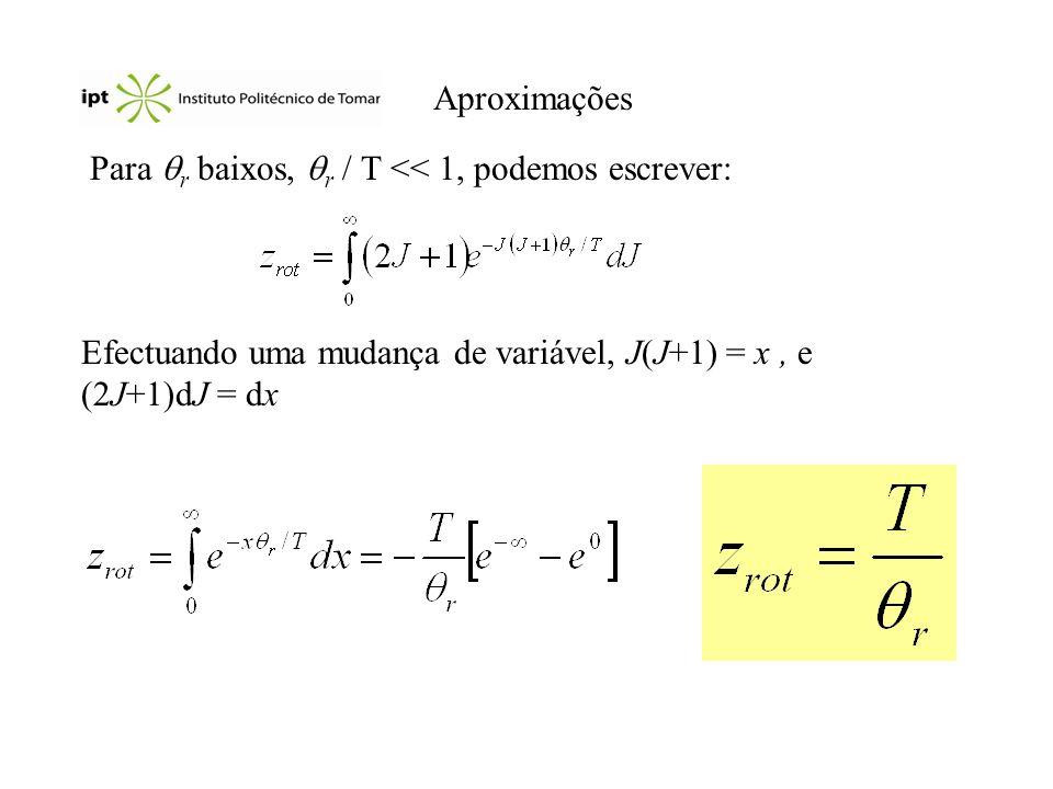 Aproximações Para r baixos, r / T << 1, podemos escrever: Efectuando uma mudança de variável, J(J+1) = x, e (2J+1)dJ = dx