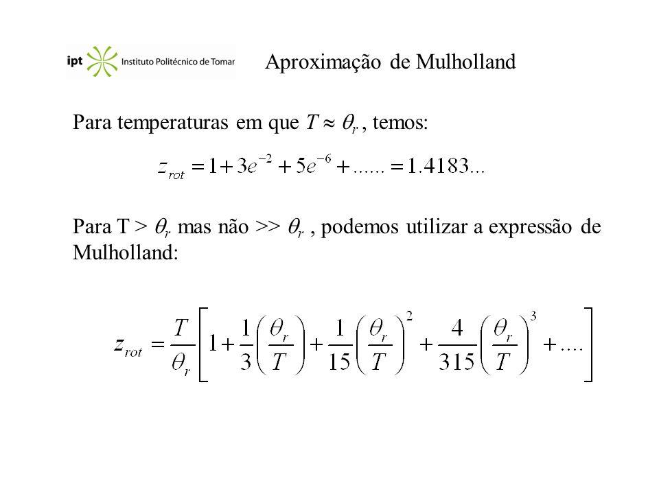 Aproximação de Mulholland Para temperaturas em que T r, temos: Para T > r mas não >> r, podemos utilizar a expressão de Mulholland: