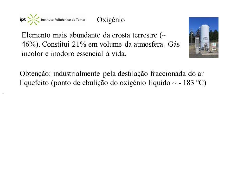 Reacções e aplicações Óxidos, peróxidos e superóxidos: O 2- (aq) + H 2 O(l) 2 OH - (aq) O 2 2- (aq) + 2 H 2 O(l) O 2 (g) + 4 OH - (aq) 4 O 2 - (aq) + 2 H 2 O(l) 3 O 2 (g) + 4 OH - (aq) BaO 2.8H 2 O(s) + H 2 SO 4 (aq) BaSO 4 (s) + H 2 O 2 (aq) + 8 H 2 O(l) Ozono: 3 O 2 (g) 2 O 3 (g) Aplicações: Oxigénio (indústria do aço, tratamento de esgotos, branqueador de papel, maçaricos de oxoacetileno, medicina,...), peróxido de hidrogénio (antiséptico, branqueador de têxteis, cabelo,...), ozono (purificação de águas potáveis, desodorizante de esgotos, branqueador,...).
