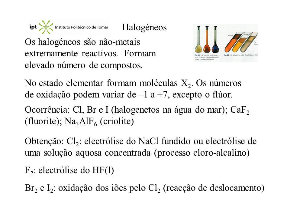 Reacções Halogenetos de hidrogénio: H 2 (g) + X 2 (g) 2 HX(g) CaF 2 (s) + H 2 SO 4 (aq) 2 HF(g) + CaSO 4 (s) 2 NaCl(s) + H 2 SO 4 (aq) 2 HCl(g) + Na 2 SO 4 (aq) Óxidos e oxoácidos: grande variedade de compostos.