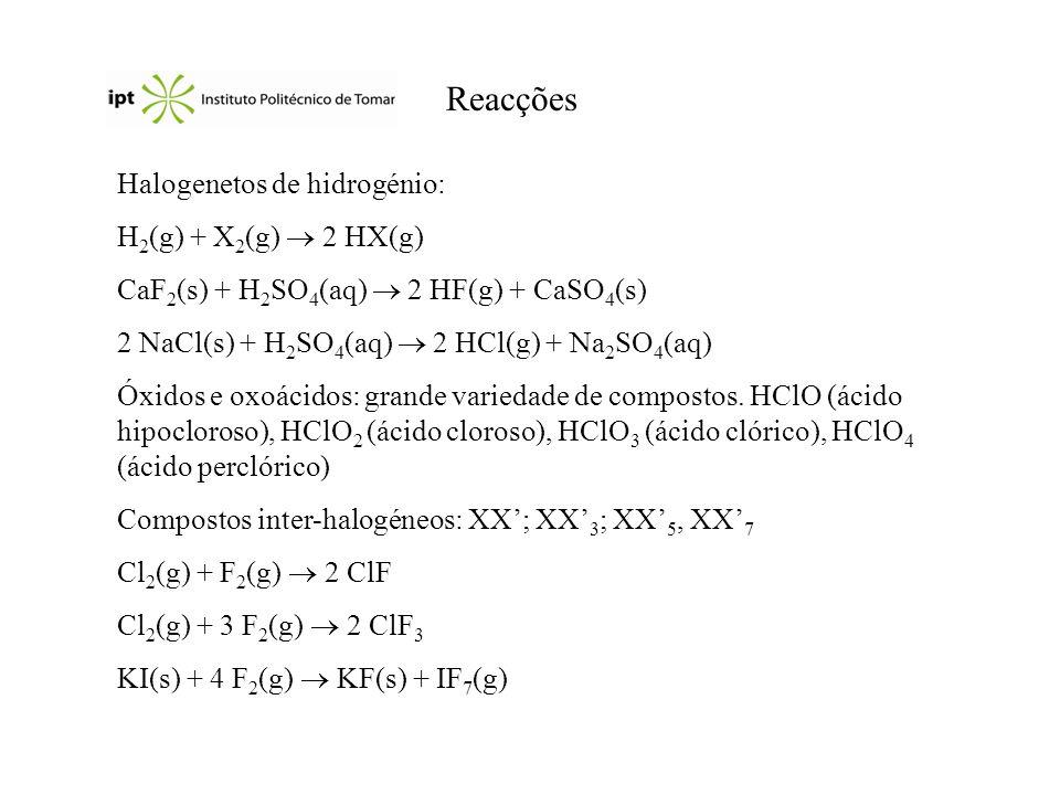 Aplicações Flúor: NaF (prevenção da cárie dentária); UF 6 (separação dos isótopos do urânio); produção de teflon (-CF 2 -CF 2 -) utilizado em isoladores, plásticos, utensílios culinários...
