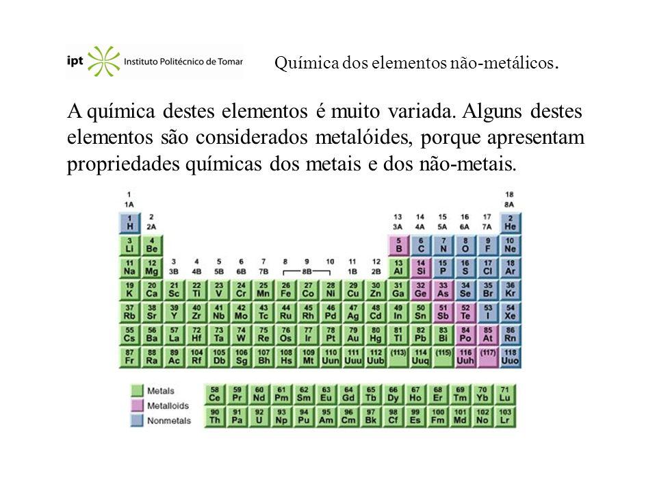 Propriedades gerais O hidrogénio, H 2, oxigénio, O 2, azoto, N 2, flúor, F 2 e cloro, Cl 2 são gases à temperatura ambiente (assim como os gases nobres!) O bromo, Br 2, é um líquido.