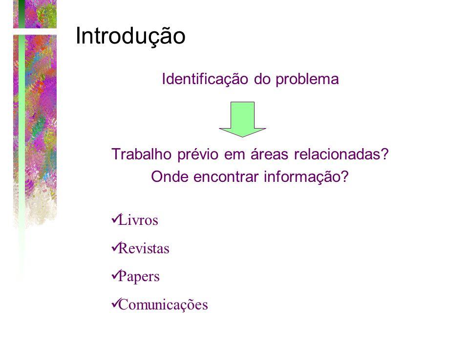 Introdução Identificação do problema Trabalho prévio em áreas relacionadas? Onde encontrar informação? Livros Revistas Papers Comunicações