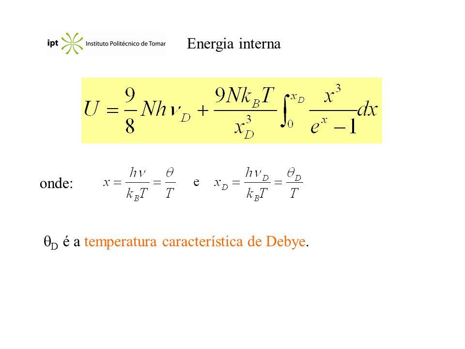 Energia interna onde: D é a temperatura característica de Debye.