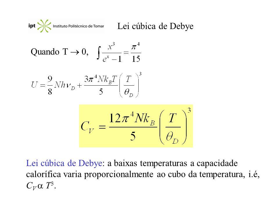 Lei cúbica de Debye Quando T 0, Lei cúbica de Debye: a baixas temperaturas a capacidade calorífica varia proporcionalmente ao cubo da temperatura, i.é, C V T 3.