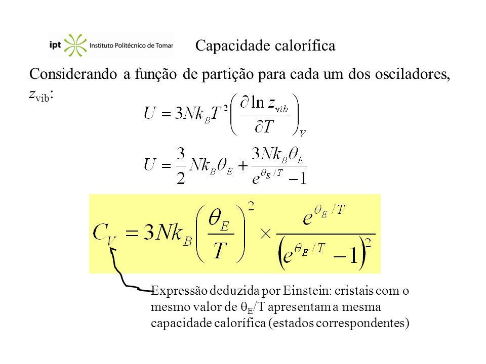 Capacidade calorífica Considerando a função de partição para cada um dos osciladores, z vib : Expressão deduzida por Einstein: cristais com o mesmo valor de E /T apresentam a mesma capacidade calorífica (estados correspondentes)
