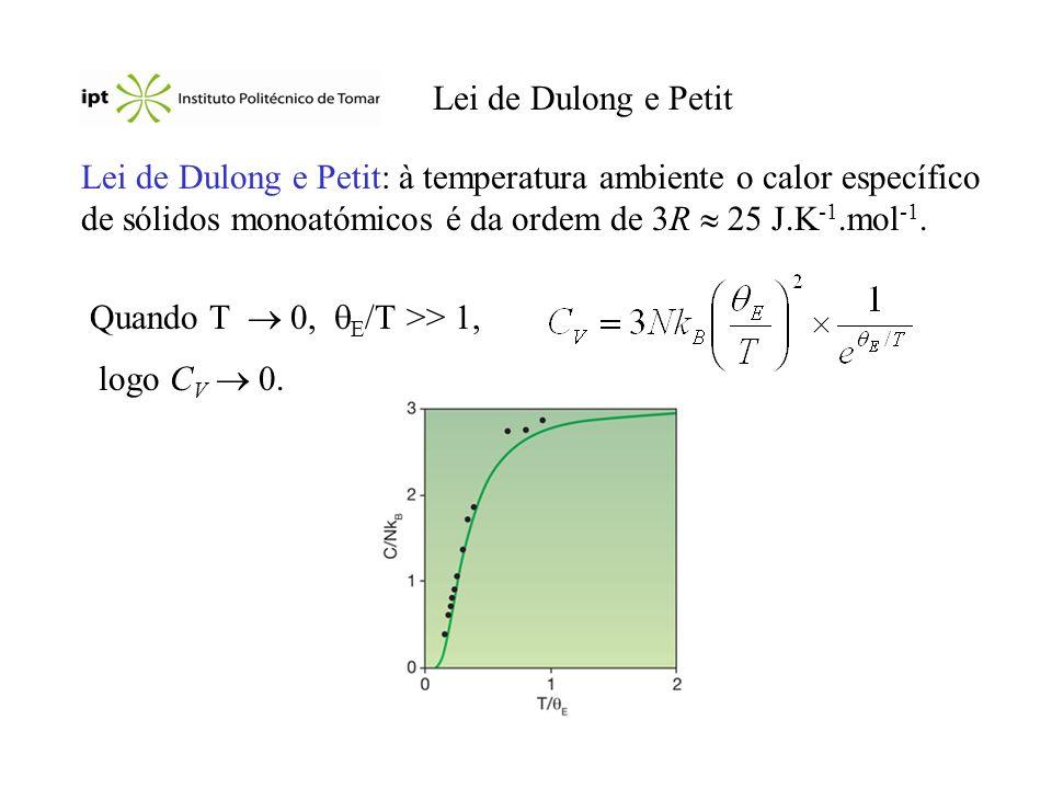Lei de Dulong e Petit Lei de Dulong e Petit: à temperatura ambiente o calor específico de sólidos monoatómicos é da ordem de 3R 25 J.K -1.mol -1.