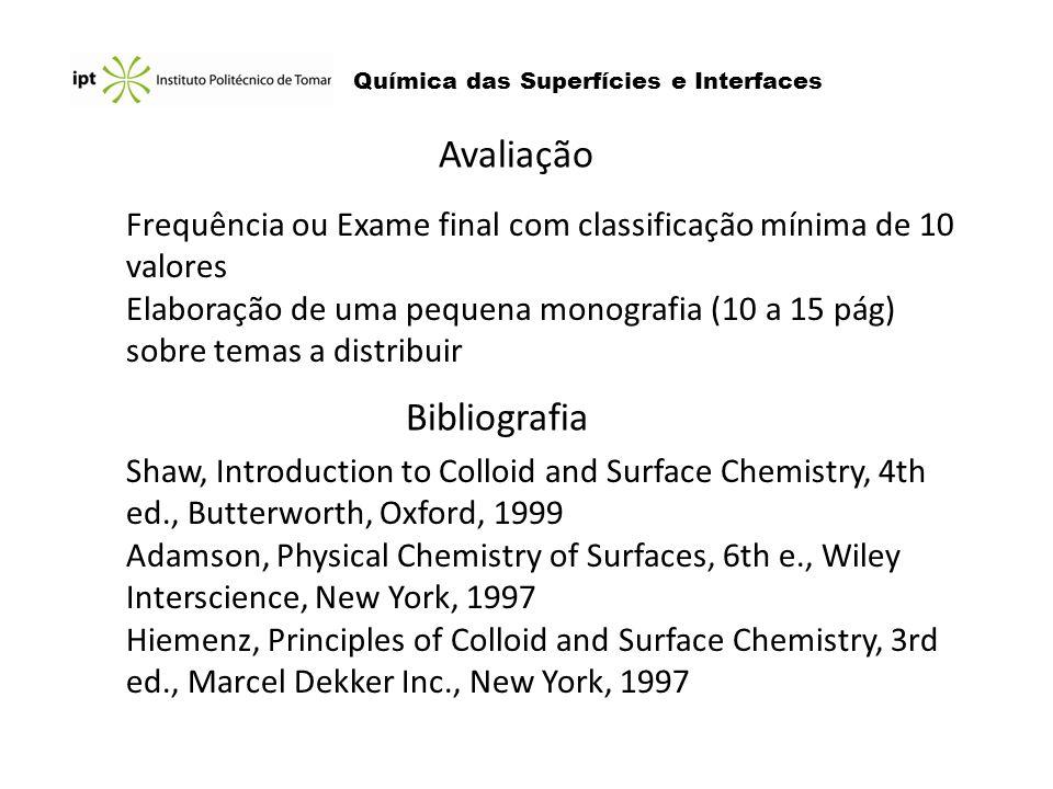 Química das Superfícies e Interfaces Avaliação Bibliografia Shaw, Introduction to Colloid and Surface Chemistry, 4th ed., Butterworth, Oxford, 1999 Ad