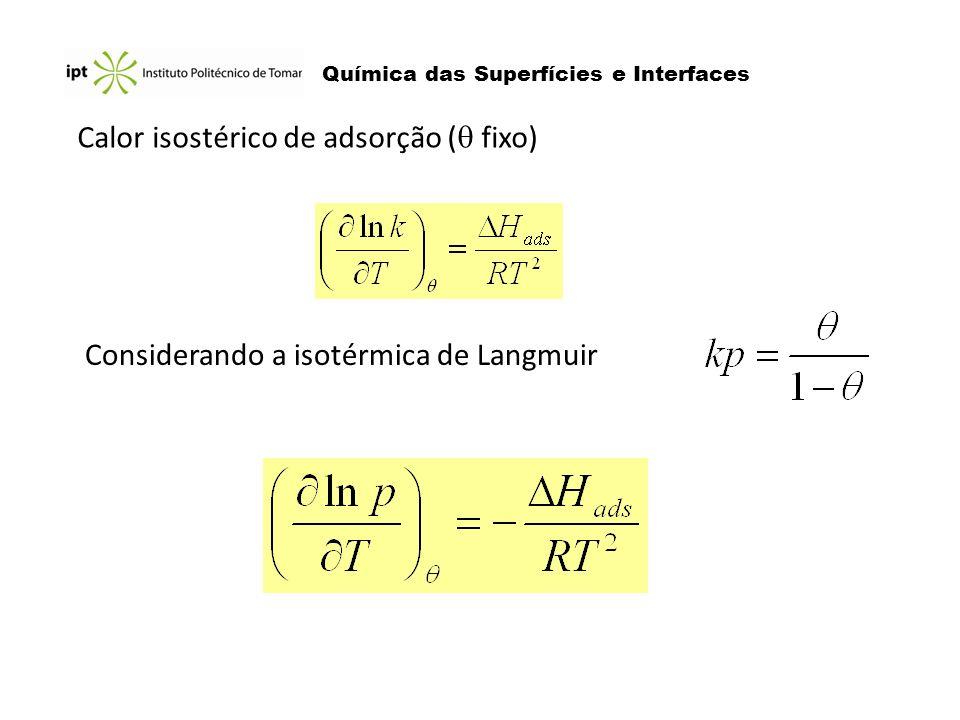 Química das Superfícies e Interfaces Calor isostérico de adsorção ( fixo) Considerando a isotérmica de Langmuir