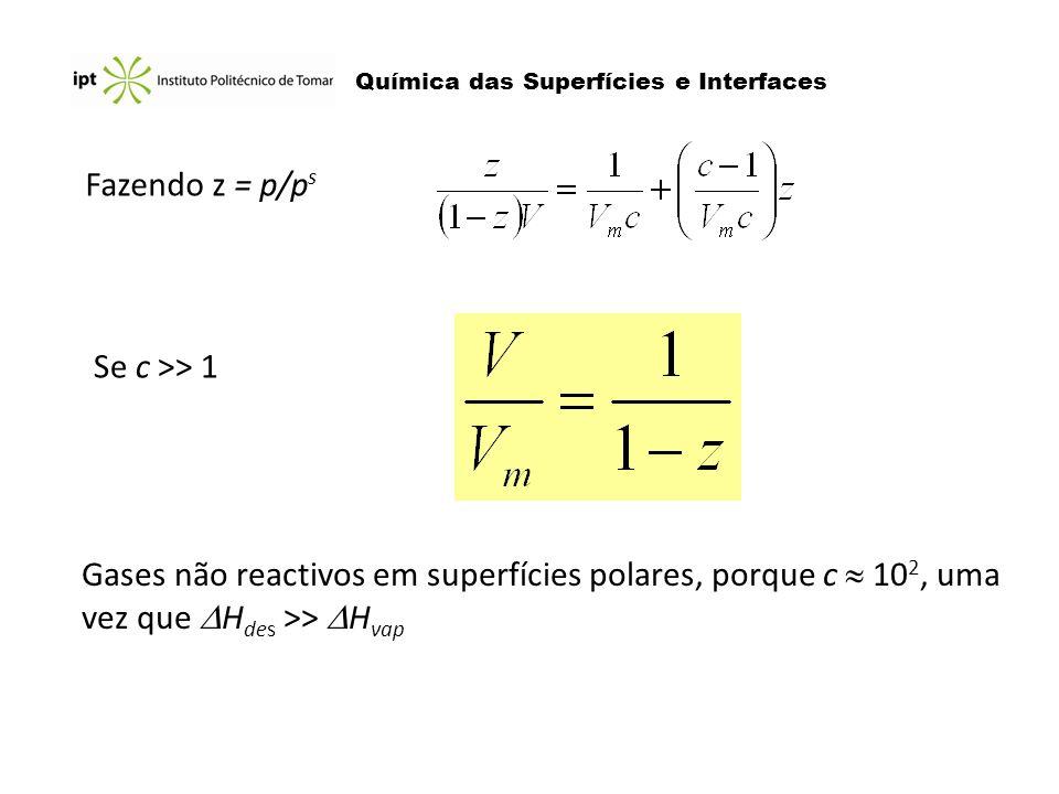 Fazendo z = p/p s Se c >> 1 Gases não reactivos em superfícies polares, porque c 10 2, uma vez que H des >> H vap