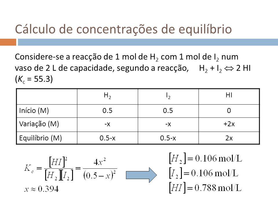 Cálculo de concentrações de equilíbrio Considere-se a reacção de 1 mol de H 2 com 1 mol de I 2 num vaso de 2 L de capacidade, segundo a reacção, H 2 +