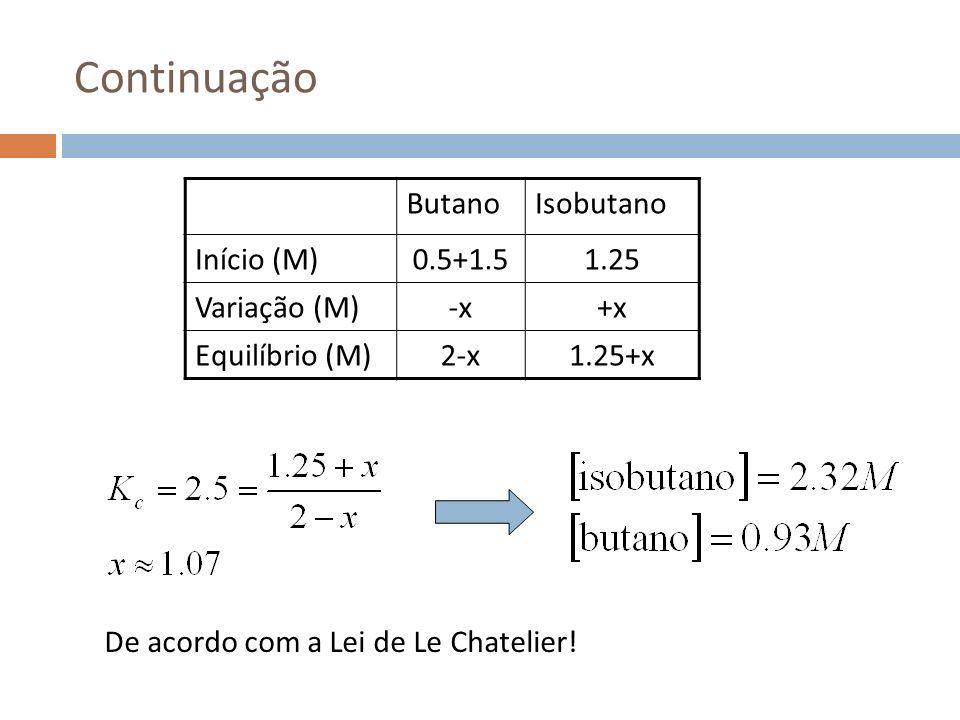 Continuação ButanoIsobutano Início (M)0.5+1.51.25 Variação (M)-x+x Equilíbrio (M)2-x1.25+x De acordo com a Lei de Le Chatelier!