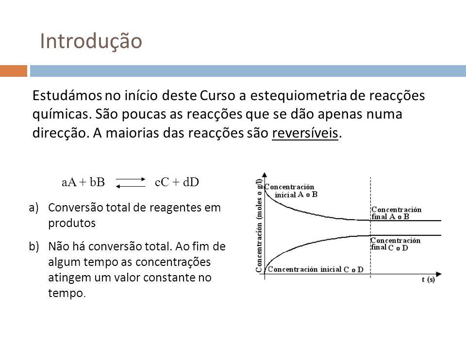 Cálculo de concentrações de equilíbrio Considere-se a reacção de 1 mol de H 2 com 1 mol de I 2 num vaso de 2 L de capacidade, segundo a reacção, H 2 + I 2 2 HI (K c = 55.3) H2H2 I2I2 HI Início (M)0.5 0 Variação (M)-x +2x Equilíbrio (M)0.5-x 2x