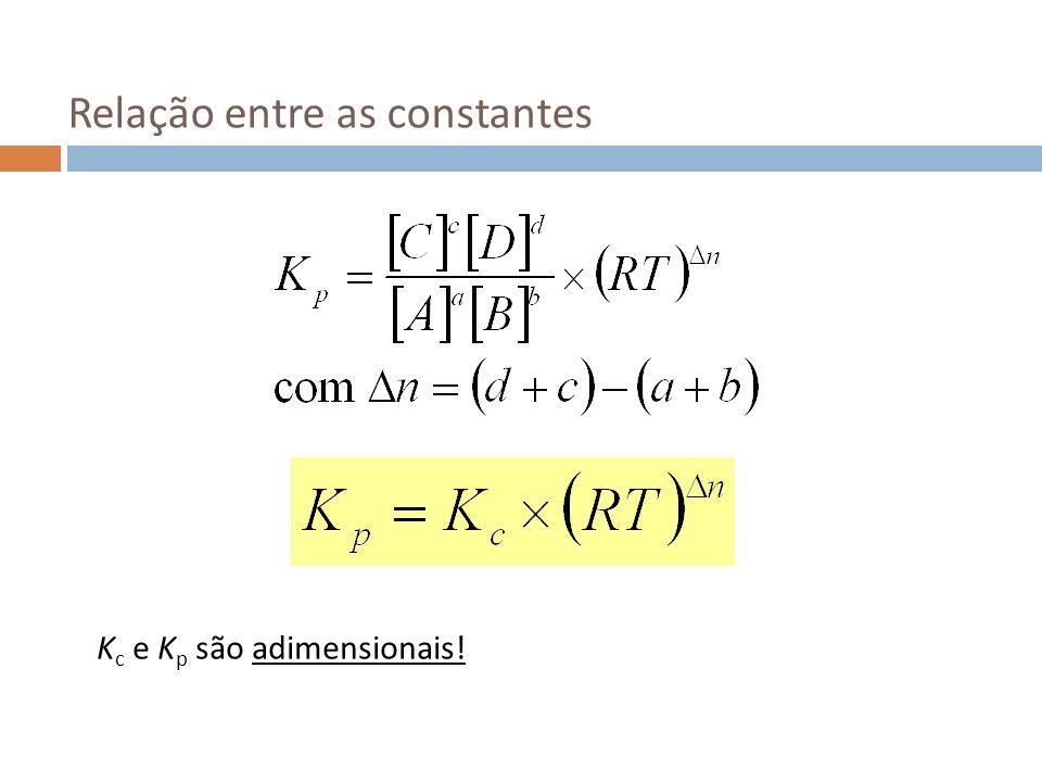 Relação entre as constantes K c e K p são adimensionais!