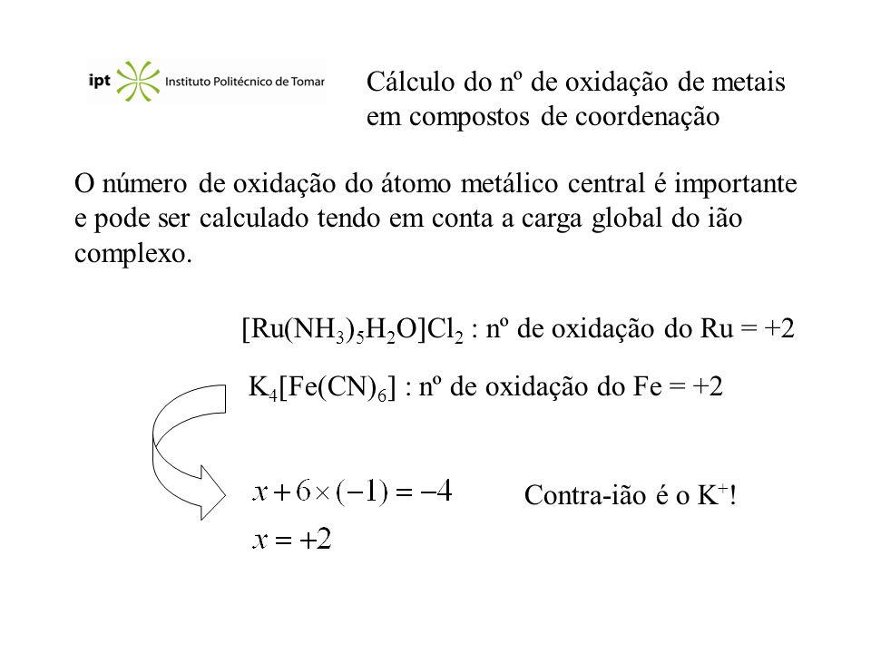 Cálculo do nº de oxidação de metais em compostos de coordenação O número de oxidação do átomo metálico central é importante e pode ser calculado tendo