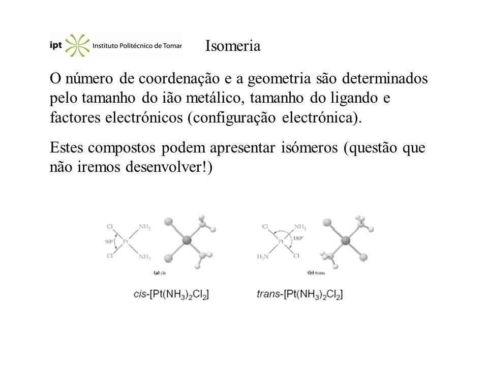 Isomeria O número de coordenação e a geometria são determinados pelo tamanho do ião metálico, tamanho do ligando e factores electrónicos (configuração