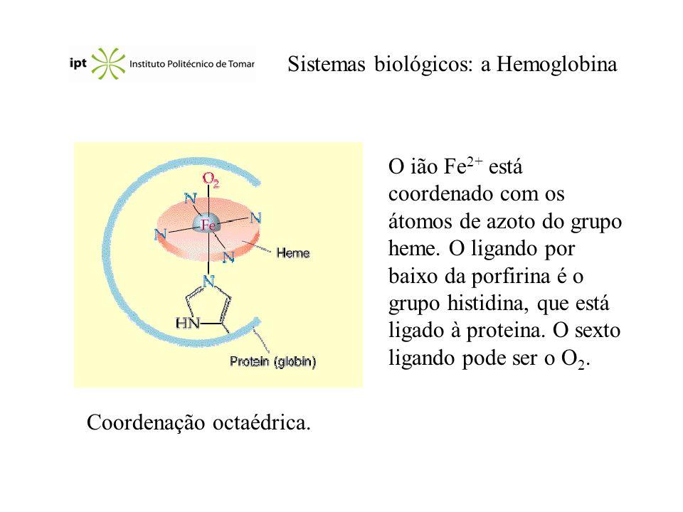 Sistemas biológicos: a Hemoglobina Coordenação octaédrica. O ião Fe 2+ está coordenado com os átomos de azoto do grupo heme. O ligando por baixo da po