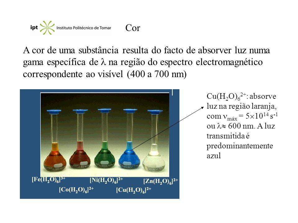 Cor A cor de uma substância resulta do facto de absorver luz numa gama específica de na região do espectro electromagnético correspondente ao visível