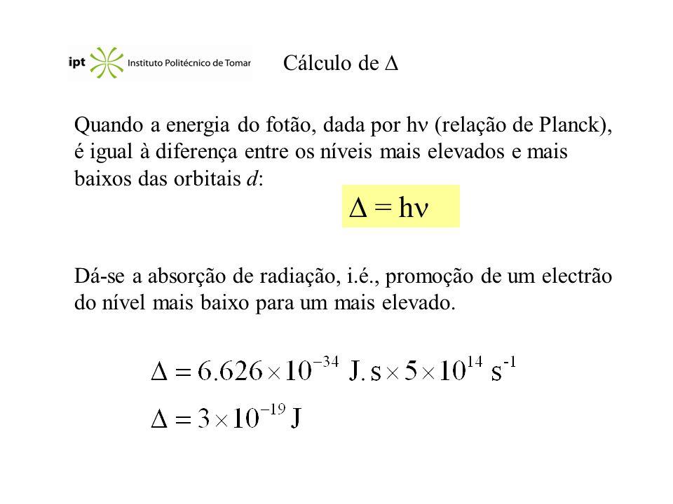 Cálculo de Quando a energia do fotão, dada por h (relação de Planck), é igual à diferença entre os níveis mais elevados e mais baixos das orbitais d: